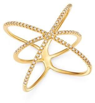 Zoe Lev 14K Yellow Gold Diamond Cage Ring