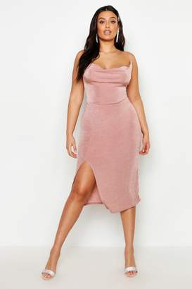 boohoo Plus Slinky Cowl Neck Slip Midi Dress