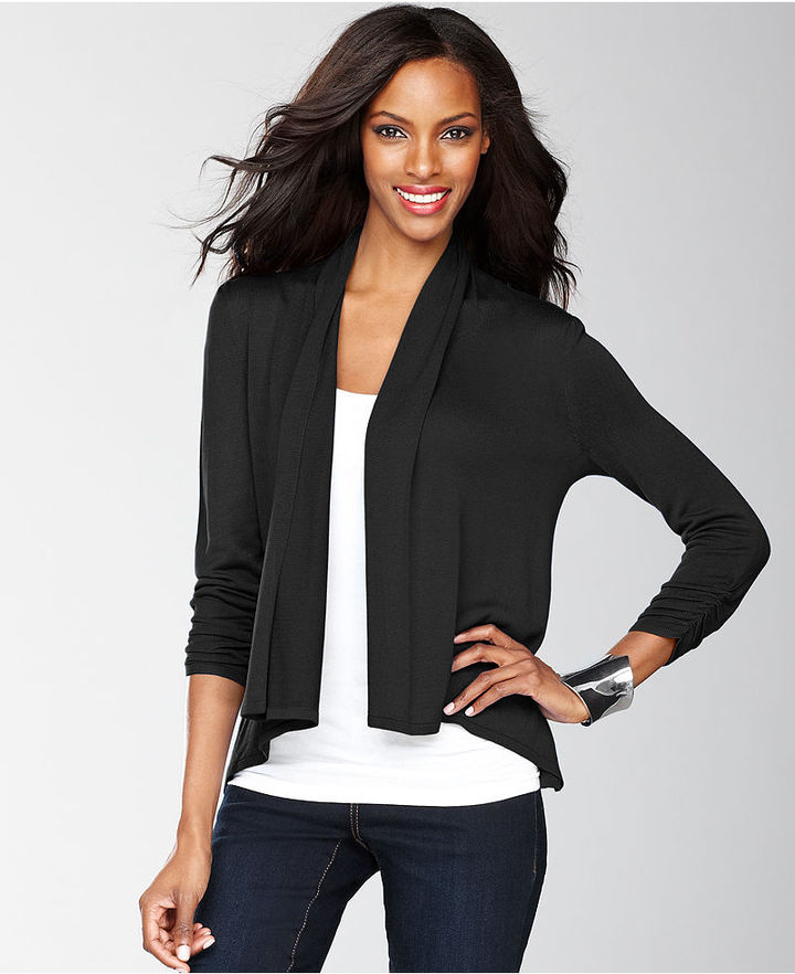 INC International Concepts Sweater, Three-Quarter-Sleeve Swing Cardigan