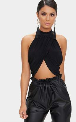PrettyLittleThing Tan Leopard Neck Wrap Crop Top
