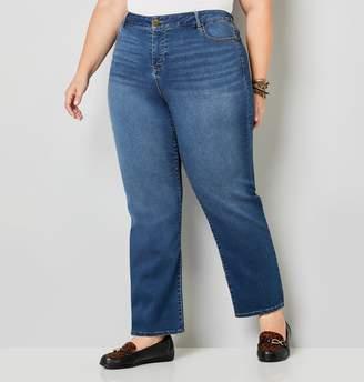 Avenue Plus Size 5 Pocket Straight Leg Knit Denim In Medium Wash