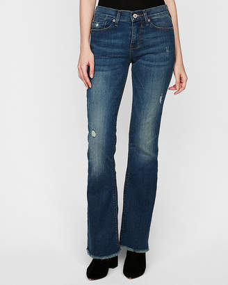 Express Mid Rise Ripped Stretch Bootcut Jeans