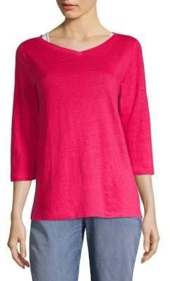 Eileen Fisher Organic Linen Three-Quarter Sleeve T-Shirt