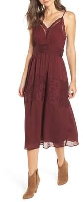 Moon River Lace Trim Midi Dress