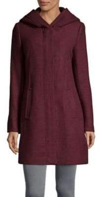 Cole Haan Textured Wool-Blend Hooded Coat
