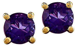 QVC 14K Semi-Precious Round Gemstone St ud Earrings