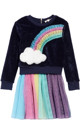 Truly Me Rainbow Sweatshirt & Tulle Dress Set