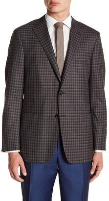 Hickey Freeman Grey Blue Gingham Two Button Notch Lapel Wool Classic Fit Sports Coat