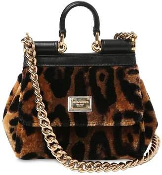 Dolce & Gabbana Micro Sicily Leopard Print Velvet Bag