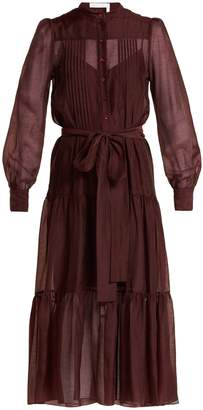 See by Chloe Tie-waist pleated voile dress