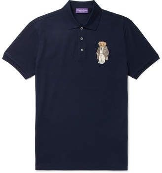 Ralph Lauren Purple Label Embroidered Cotton-Piqué Polo Shirt