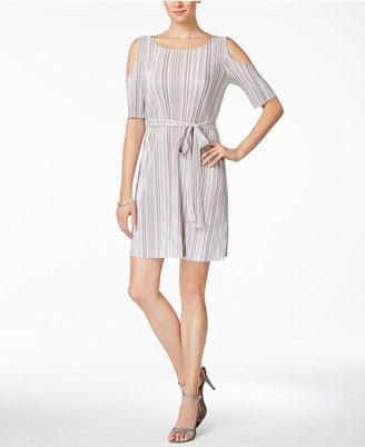 Connected Crinkled Belted Cold Shoulder Dress $69 thestylecure.com