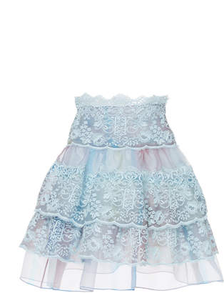 Luisa Beccaria Tiered Lace Organza Mini Skirt