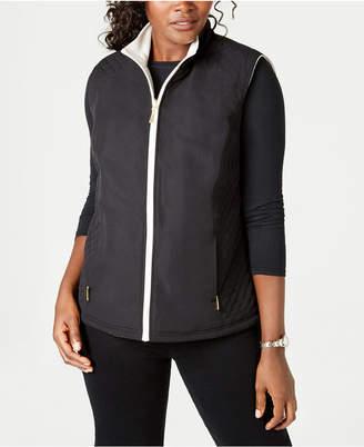 Karen Scott Petite Reversible Zip Vest
