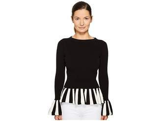 Moschino Striped Trim Peplum Knit Women's Clothing