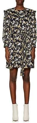 Derek Lam 10 Crosby Women's Floral Silk-Blend Jacquard Belted Dress - Black