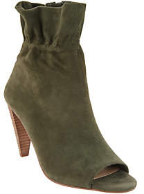 Vince Camuto Leather Peep-Toe Ruched AnkleBoots - Addiena
