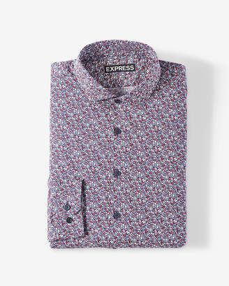 Express Classic Small Floral Print Dress Shirt