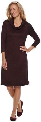 Dana Buchman Women's Space-Dyed Cowlneck Sweater Dress