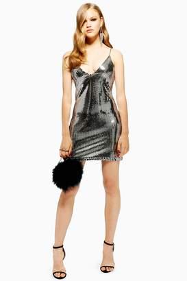 Topshop Womens Silver Foil Sequin Mini Dress - Silver