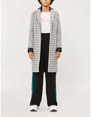 Maje Contrast-cuff checked wool-blend coat