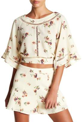 Flying Tomato 3/4 Sleeve Floral Print Knit Trim Blouse