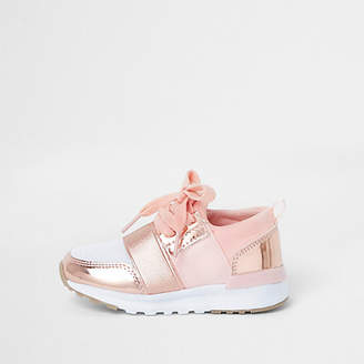 River Island Mini girls rose gold metallic runner trainers