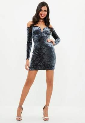 Missguided Navy Velvet Long Sleeve V Bar Bardot Dress