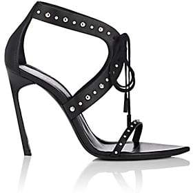 Saint Laurent Women's Talitha Leather Sandals - Black