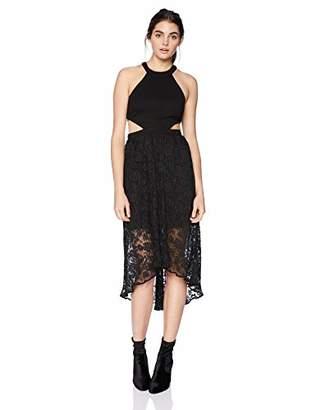 AVEC LES FILLES Junior's Cutout Dress with Pleated Lace Skirt
