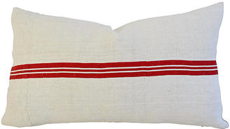 French Grain Sack Textile Lumbar Pillow