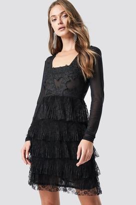 Na Kd Party Mesh Sleeve Lace Mini Dress Black