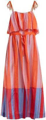 Diane von Furstenberg Striped Cotton And Silk Blend Maxi Dress - Womens - Red Stripe