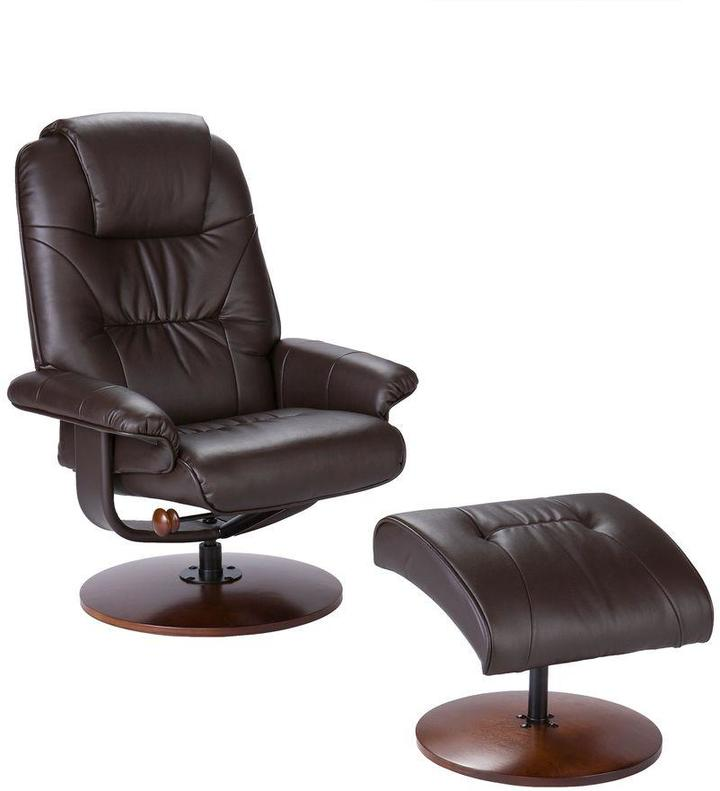Home Decorators Collection Leather Recliner and Ottoman Set in Brown