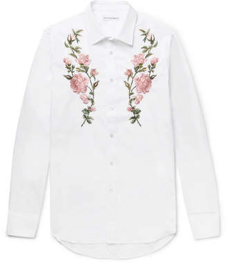 Alexander McQueen Slim-Fit Embroidered Cotton-Poplin Shirt - White