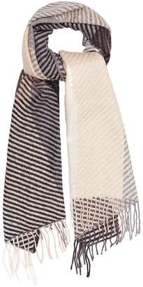 Reiss BAILEY LAMBSWOOL CHECKED SCARF Grey