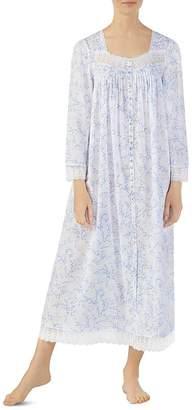 Eileen West Ballet Button-Front Long Sleeve Nightgown