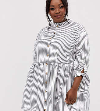 Asos DESIGN Curve grandad collar button through mini smock dress with tie sleeve in stripe