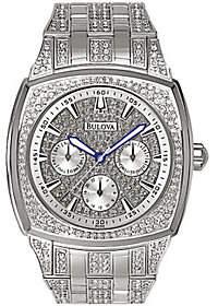 Bulova Men's Crystal Bracelet Watch w/ Pave Dia l