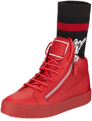 Giuseppe Zanotti Men's Double-Zip High-Top Sock Sneakers