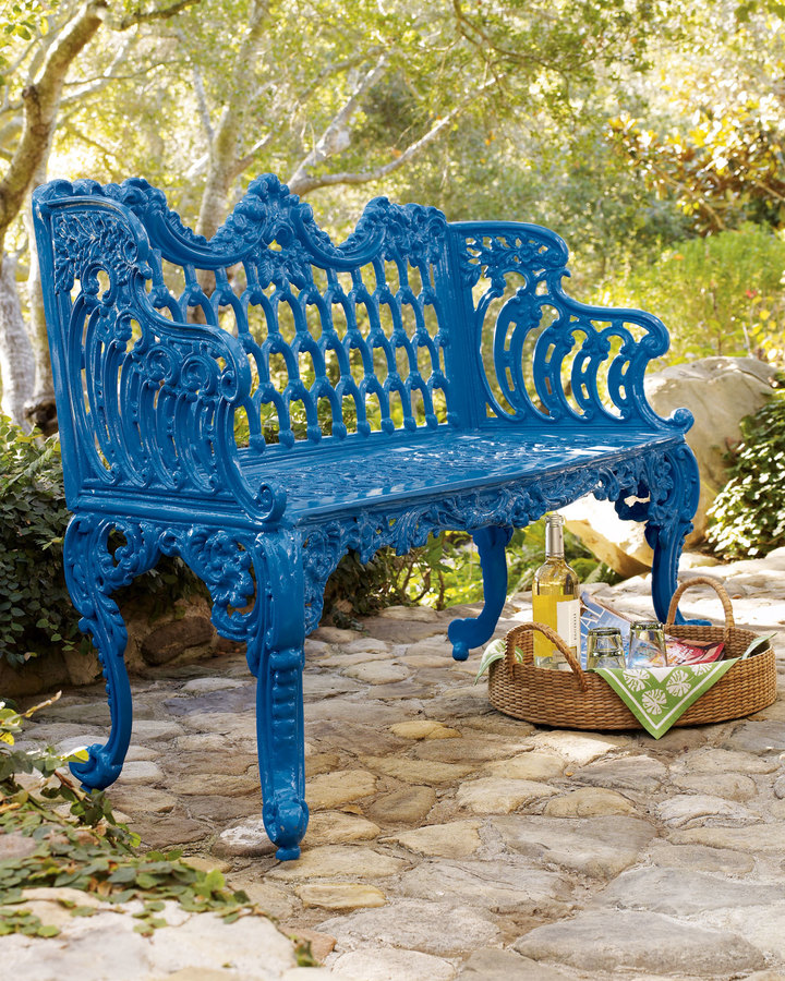 Horchow Blue Bench