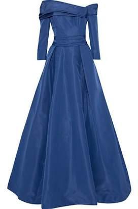 Carolina Herrera Off-The-Shoulder Gathered Silk-Faille Gown