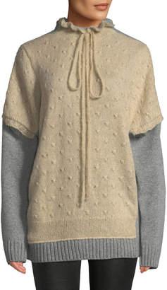 J.W.Anderson Textured Tie-Neck Wool Sweater