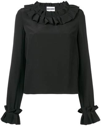 Moschino frilled long-sleeved blouse