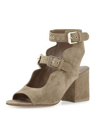 Laurence Dacade Noe Suede Double-Buckle Sandal, Beige $795 thestylecure.com