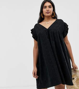 Asos DESIGN Curve reversible frill sleeve broderie smock dress