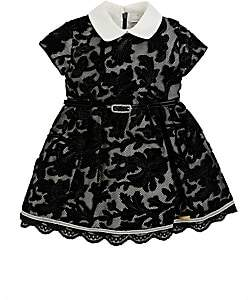 Barcarola Kids' Mesh & Floral Velvet Cap-Sleeve Dress - Black