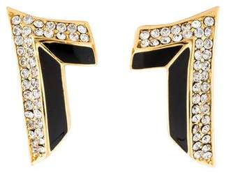 Christian Dior Crystal & Enamel Clip-On Earrings