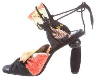 Dries Van Noten Satin Lace-Up Sandals