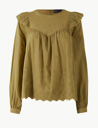 Marks and Spencer Pure Cotton Embroidered Blouse